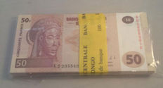 Congo - 50 Francs 2013 - In original bundle of 100 - Pick 97