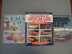 Three Books American cars ; Encyclopedia of American Cars , 1996 - Cars of the 40s , 1979 and Amerikaanse droomauto's uit de jaren '40 en '50 , 1986