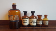Collection of original apothecary jars, 5 pieces, starting from 1930
