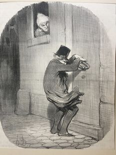 4 lithographs by Honoré Daumier (1808-1879) - 'After Midnight' and others, from the Charivari magazine