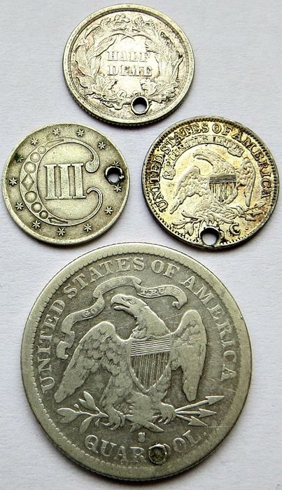 United States - 3 Cents 1851, 5 Cents 1830 and 1872 + 25 Cents 1877S (4 coins) - silver