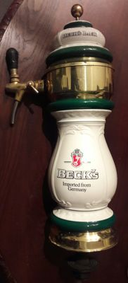 Beck,s beer tap - 1960s-1970s, in ceramic and gold metal