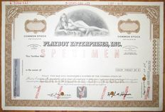 USA - Playboy Enterprises Inc. Share Certificate (Specimen)