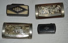 Lot of 4 snuffboxes in horn or rosewood, silver, gold and mother-of-Pearl -XIXth
