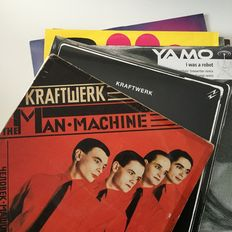 Kraftwerk, lot of 7 vintage records, including India pressing of The Man Machine, also sealed copies of Radio Activity and Yamo (=Wolfgang Flur)
