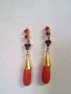 Earrings (coral, rubies and sapphires)