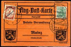 "German Reich 1912 - Flugpost Rhein-Main ""Gelber Hund"" with printer's mistake ""Huna"" on the Palais card with the date: 19.06.12 - Michel IV F"