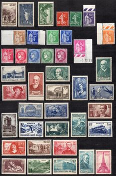 France 1936/1939 – Set of 46 stamps between Yvert n° 334 and 447