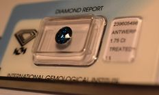 1.75 ct Brilliant cut diamond, natural fancy deep blue - G/G/G I1 - no reserve price