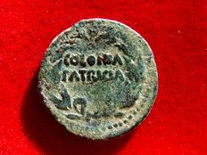 Roman Empire - Augustus (27 B.C. - 14 A.D.) bronze as (10,00 g. 25 mm.) minted in Colonia Patricia, ancient Baetica provincia in Hispania (actual Cordoba). COLONIA / PATRICIA.