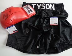 Boxing Glove and shorts Everlast signed by Mike Tyson - COA PSA/DNA.