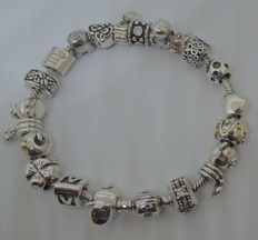 Full Pandora charm bracelet with 21 charms