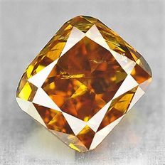 0.26 ct cushion cut diamond, natural fancy deep yellowish brown SI2 ***Low reserve***