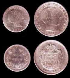 Portugal - King Pedro V - 2 silver coins, 200 reis (1855) and 500 reis (1858)