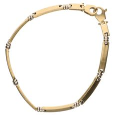 Yellow gold 14 kt link bracelet with white gold links – Length 19 cm