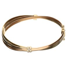 14 kt tri-colour gold bangle set with 6 zirconia - 60 mm in diameter