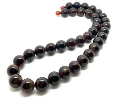 Necklace of dark Baltic amber beads 13 mm in diameter