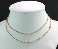 Brilliant necklace total 0.86 ct in 750 rose gold *No reserve price*