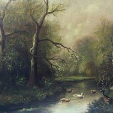 Sal (20th century)-Dutch landscape, brook with duck family