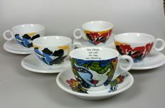 Jan Cremer and Josien Broeren - 5 porcelain collector's cups and saucers