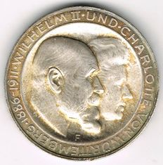 German Empire, Württemberg - 3 Mark 1911 F For the Silver Wedding - silver