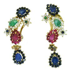 Long 18 kt gold hinged earrings with diamonds, rubies, emeralds and sapphires; gemmological certificate included