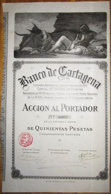 "Spain - Banco de Cartagena Accion from 1900 with ""Mercury and Argus"" (Velazquez) vignette"
