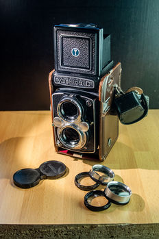 Yashica-D with Macro conversion lenses