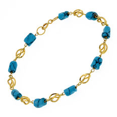 18 kt yellow gold bracelet with turquoises