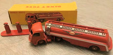 Dinky Toys-France - Scale 1/48 - Tractor Panhard with tank trailer No.32c and  Matchbox fuel station