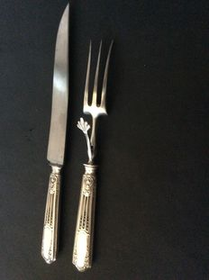 Silver carving knife and trident fork, France, mid-19th century