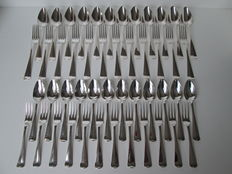 Twelve silver dinner cutlery and twelve silver dessert cutlery, Haags Lofje, Fa. J.M. van Kempen & Zn, Voorschoten, 1911
