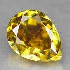 0.28 ct pear cut diamond, natural Fancy Intense Greenish Yellow SI1