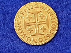 "Portugal – 400 Reis, ""Pinto"", year 1728 – D. John V – Gold."