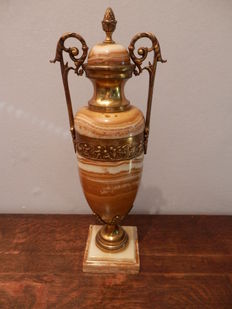 Marble vase with brass
