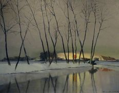 Unknown - Winter landscape at sunset