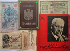 Duits Arbeitsbuch: 1st type from Berlin + 4 banknotes + Hindenburg booklet. WW2