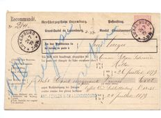 Luxembourg 1879 - Coat of arms Prifix 9 - Collecting order for Troisvierges Post Office