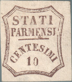 Duchy of Parma, Provisional Government, 1859— Dark brown 10 Cents (14)