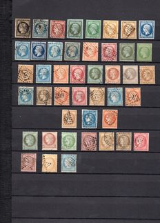 France 1849/1871 – lot of 44 different stamps between Yvert no. 3 and 60