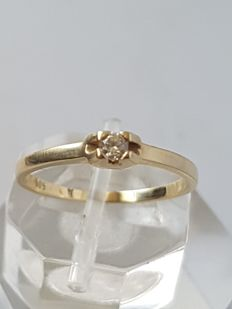 14 kt yellow gold ring with diamond – size 17 mm