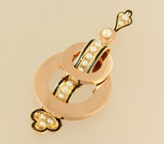 18 kt rose gold pendant decorated with black enamel and set with freshwater cultured pearls