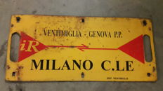 Original enamelled porcelain sign for the Italian Railways - 1980s