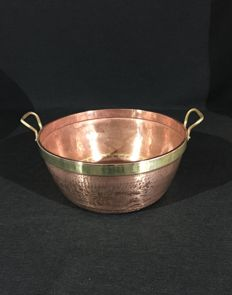 Large jam bowl in red copper with handles and ring collar in brass.
