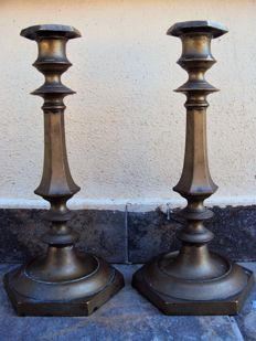 Pair of bronze candle holders - German area - late 19th century