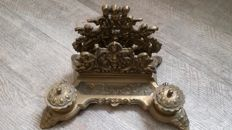 Antique solid bronze inkstand with letter holder
