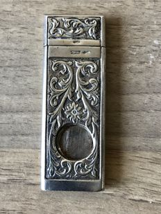 Antique carved Dutch silver cigar cutter - Fa Moerkerk & co. Haarlem, approx 1940