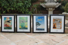 KLM, The Netherlands, classic collection of nostalgic prints in a nice frame, a lot of 4