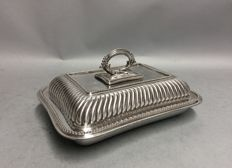 AA Silver plated double serving tray with removable knob, England, David Bingham & Son, ca. 1890