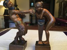 Large erotic Vienna bronze - marked B - early 20th century